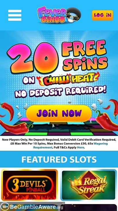 Fever bingo home page