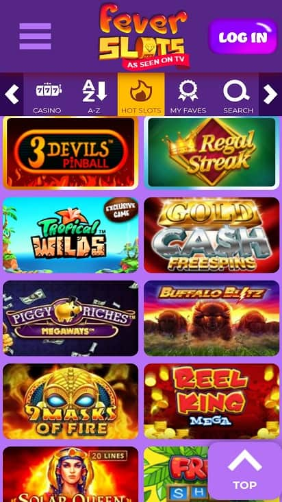 Fever slots games page