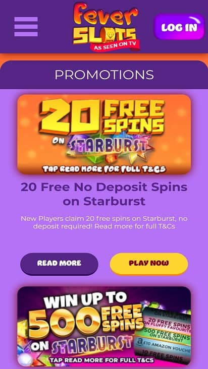 Fever slots promotions page