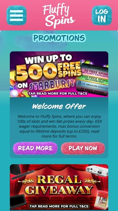 Fluffy spins promotions page