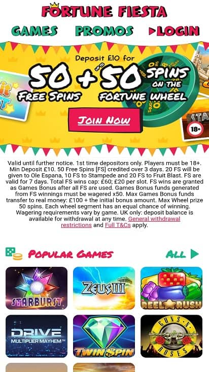 Fortune fiesta home page