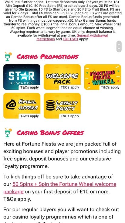 Fortune fiesta promotions page