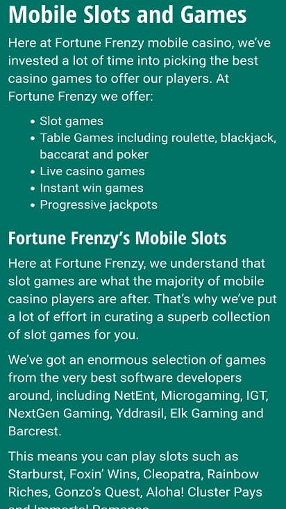 Fortune frenzy games page