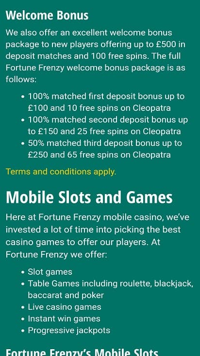 Fortune frenzy promotions page