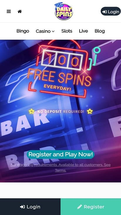 Free daily spins home page