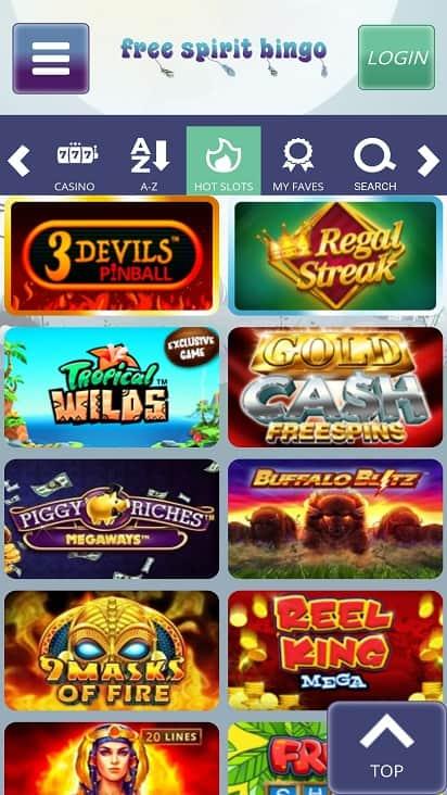 Free spirit bingo games page