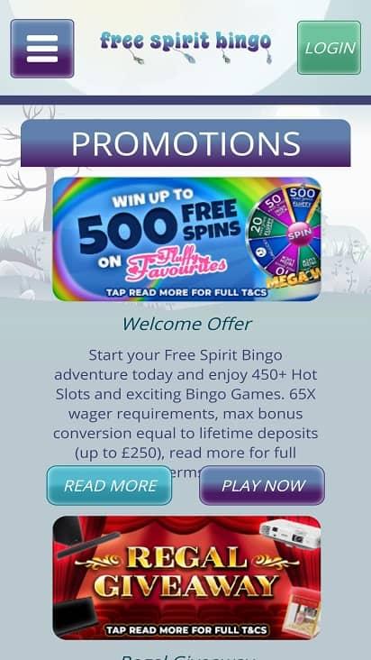 Free spirit bingo promotions page
