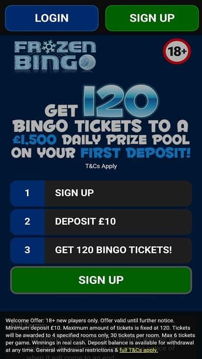 Frozen bingo home page