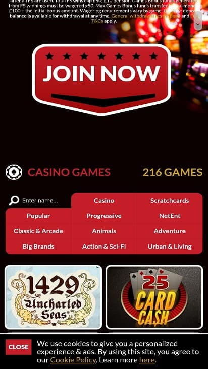 Fruity vegas games page