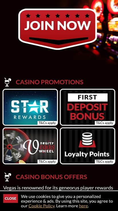 Fruity vegas promotions page