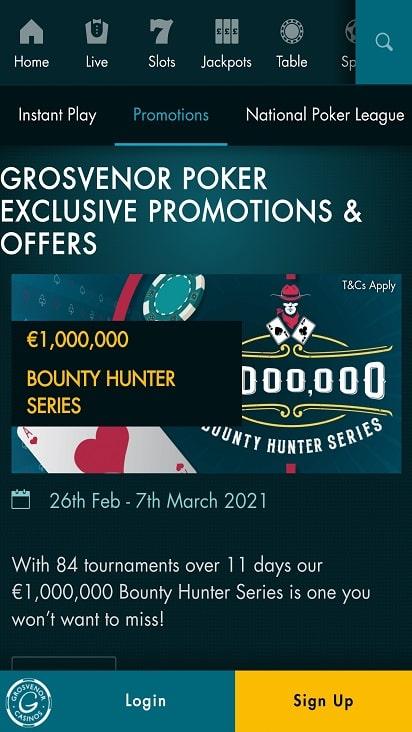 G casino Poker promotions
