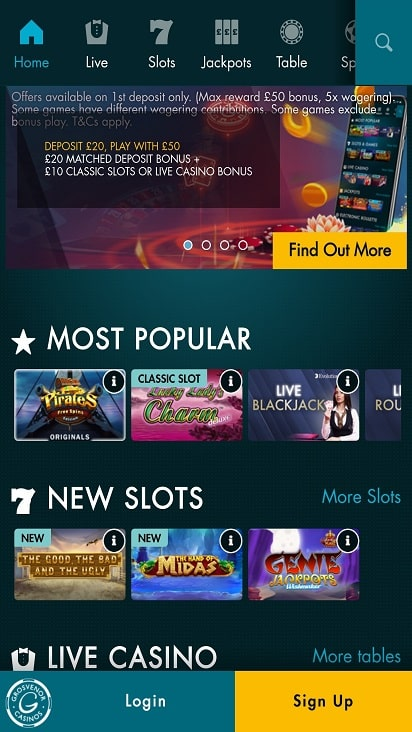 G casino poker games page