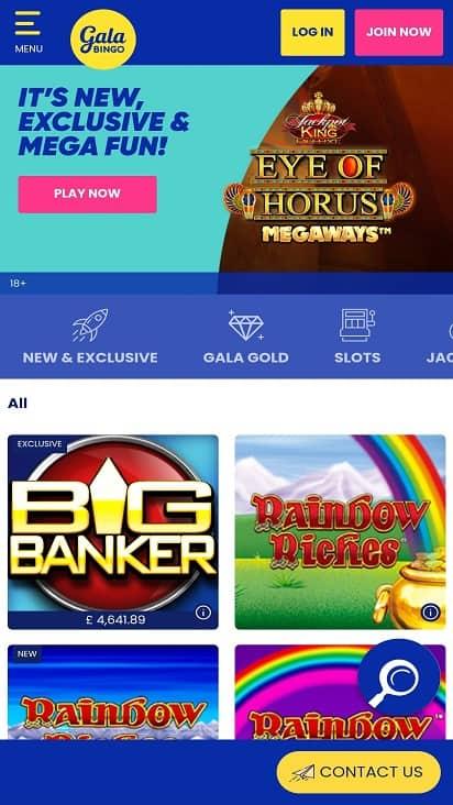 Gala bingo games page