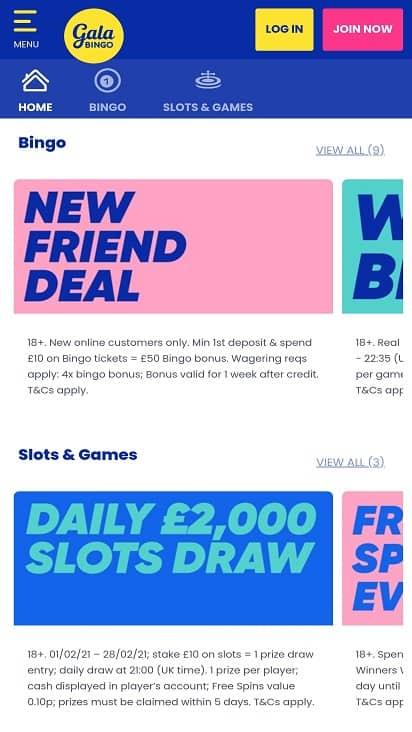 Gala bingo promotions page
