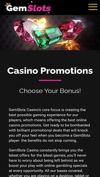 Gemslots promotions page