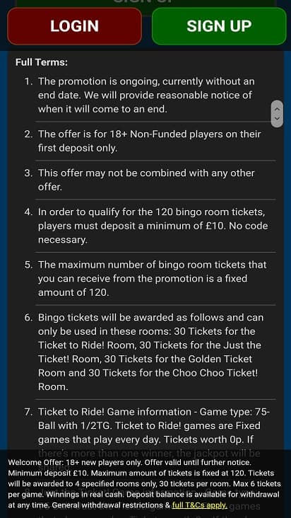 Giant bingo promotions page