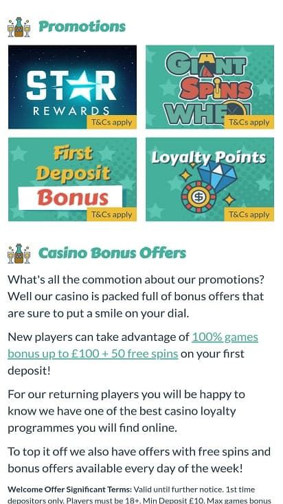 Giant spins promotions page