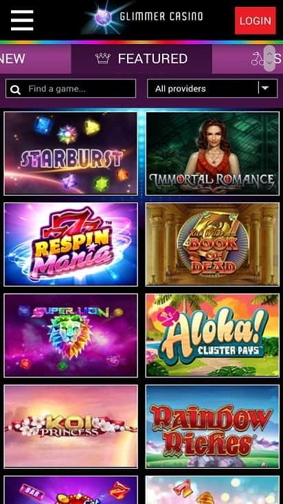 Glimmer casino games page