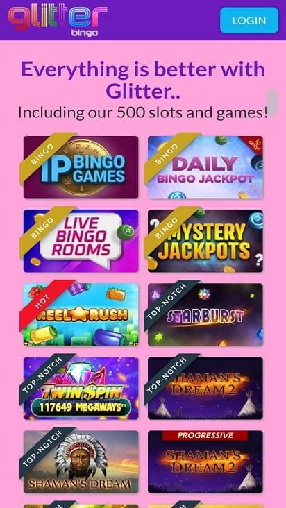 Glitter bingo games page