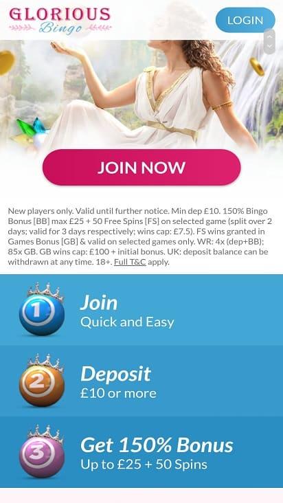 Glorious bingo promotions page