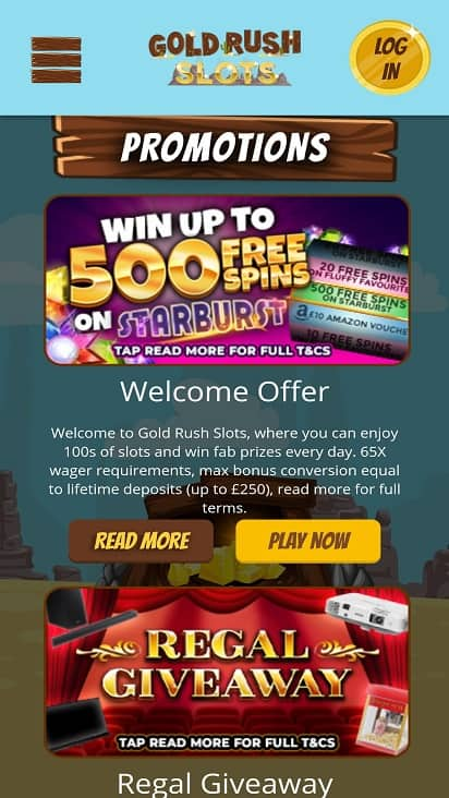Gold rush slots promotions page