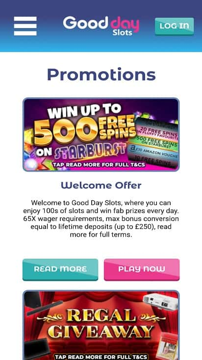 Good day slots promotions page