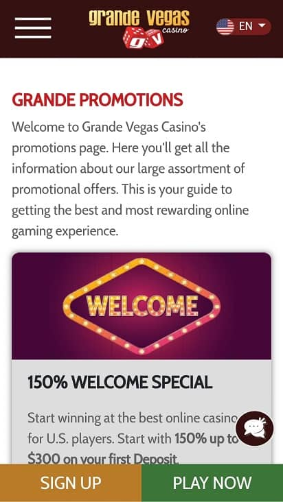 Grande vegas casino promotions page