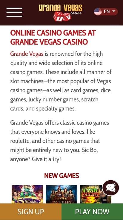 Grande vegas games page