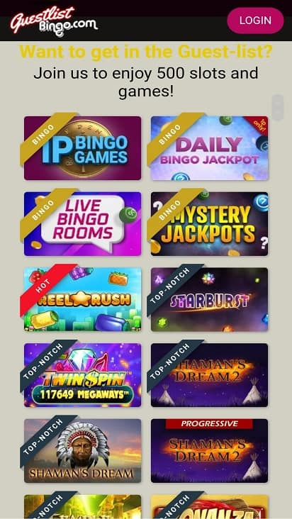 Guest list bingo games page
