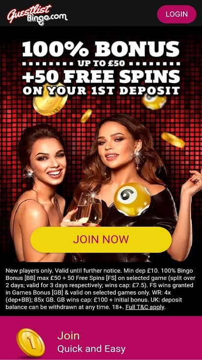 Guest list bingo home page