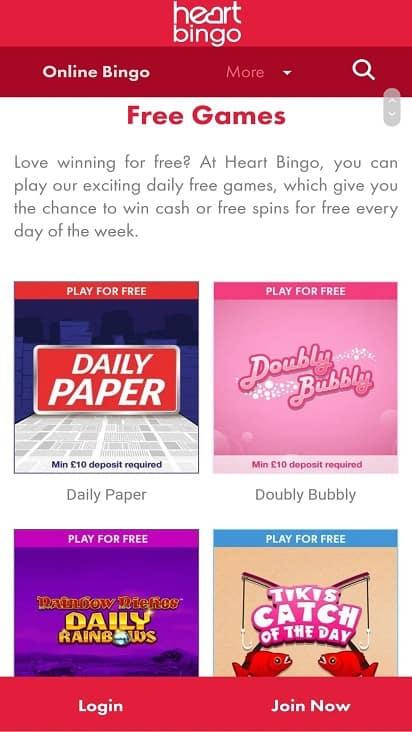 Heart bingo game page