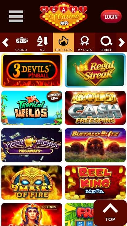 Heart of casino games page