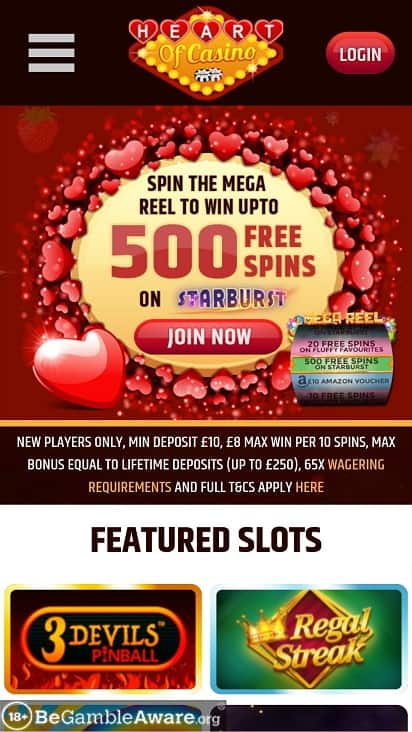 Heart of casino home page