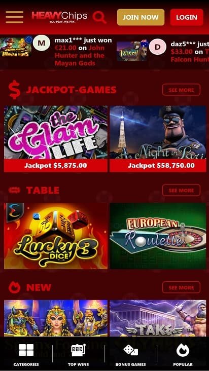 Heavy chips games page