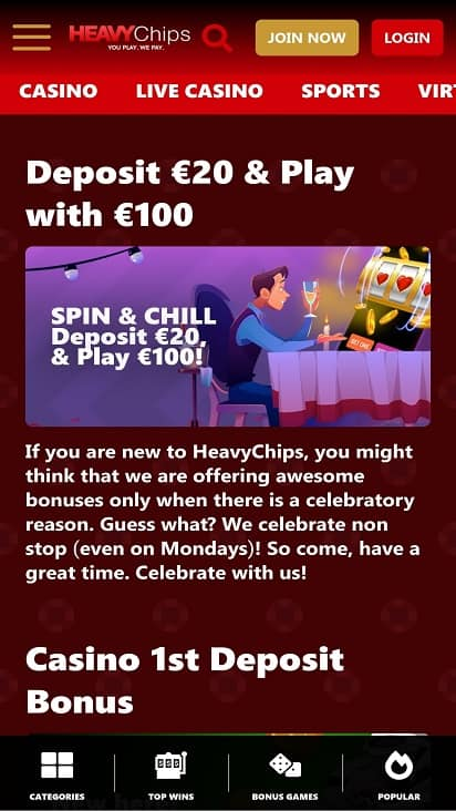 Heavy chips promotions page