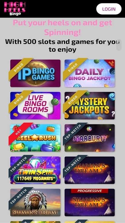 High heels bingo games page