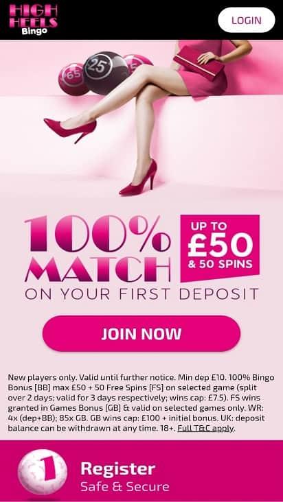 High heels bingo home page