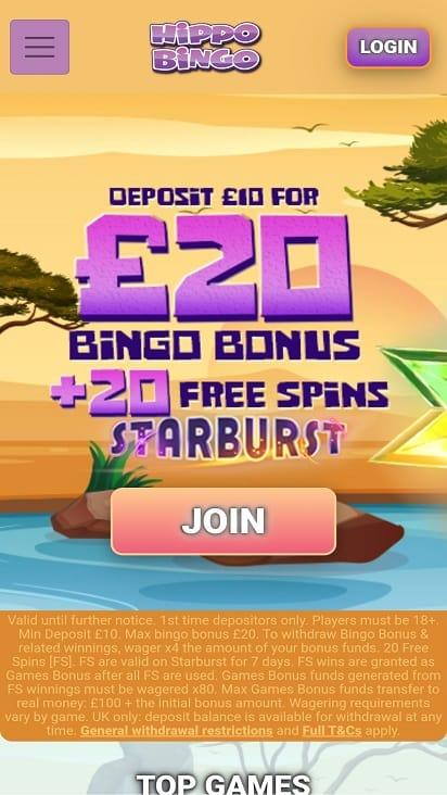 Hippo bingo home page