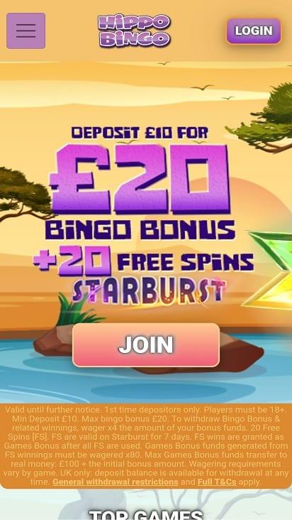 Hippo bingo promotions page