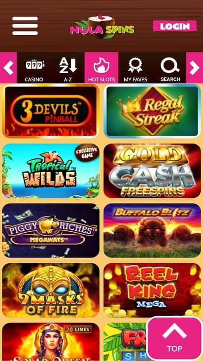 Hula spins games page