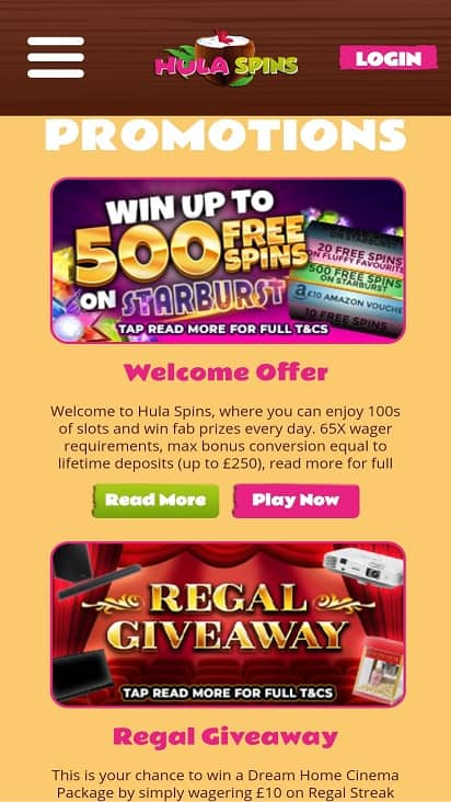 Hula spins promotions page