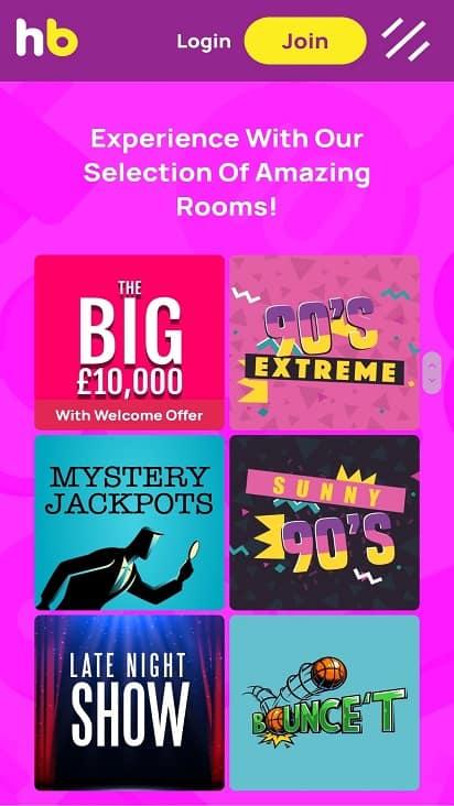 Hunky bingo games page