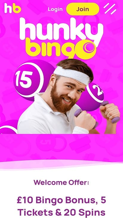 Hunky bingo home page