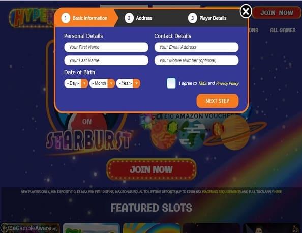 Hyper Slots sign up