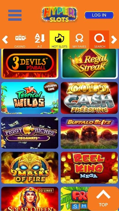 Hyper slots games page