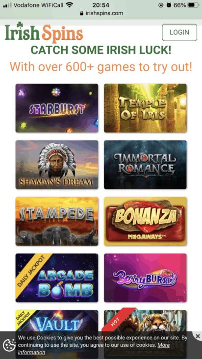irish spins mobile games