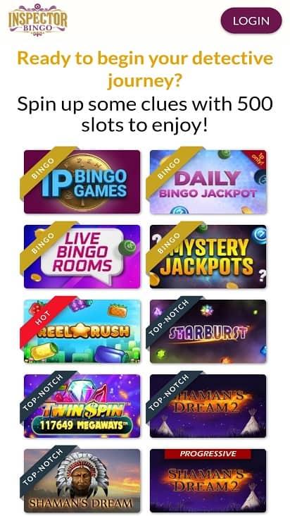 Inspector bingo games page