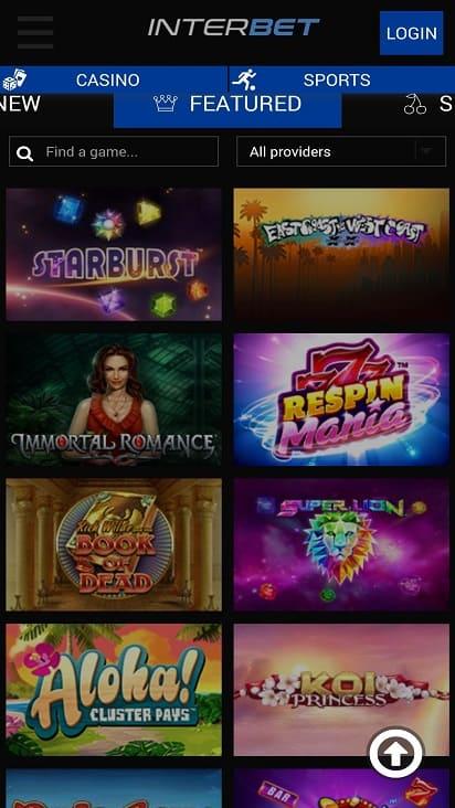 Interbet games page