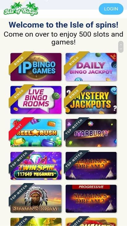 Isle of bingo games page