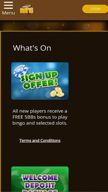Jackpot cafe promotions page